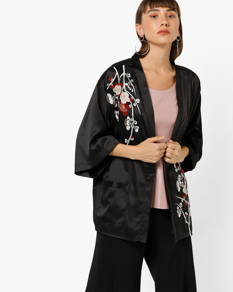 Embroidered Open-Front Shrug With Pocket By Vero Moda ( Black )