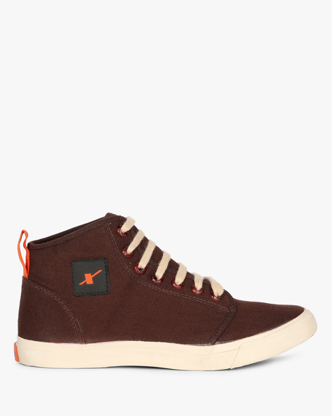 Mid-Top Panelled Lace-Up Casual Shoes By SPARX ( Darkbrown )