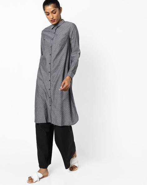 Shirt Kurta With Patch Pocket By AJIO ( Charcoal )