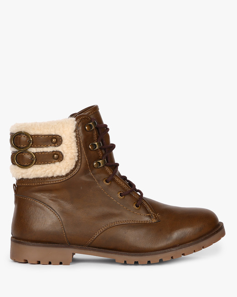 High-Top Lace-Up Boots By Carlton London ( Coffee )
