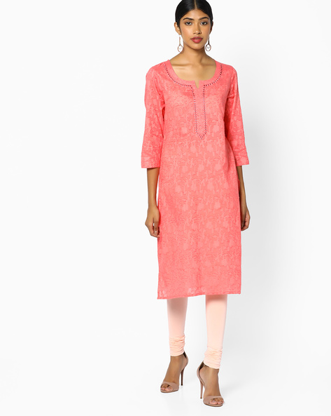 Straight Kurta With Mirror Work By Melange By Lifestyle ( Coral )