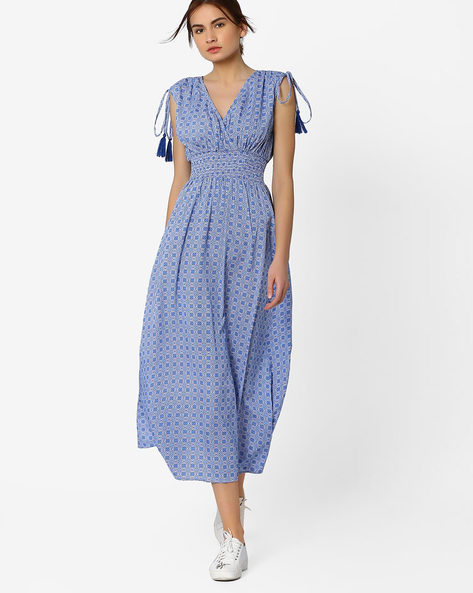 Printed Maxi Dress With Tie-Ups By AJIO ( Blue )