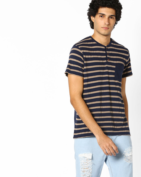 Striped Henley T-shirt With Patch Pocket By INDIAN TERRAIN ( Purple )