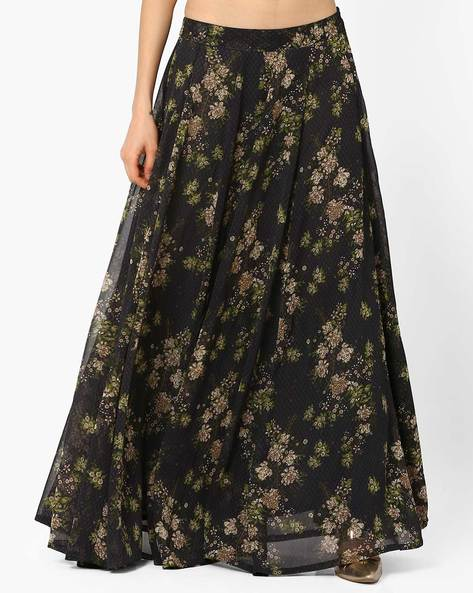 Flared Floral Print Maxi Skirt By AJIO ( Charcoal )