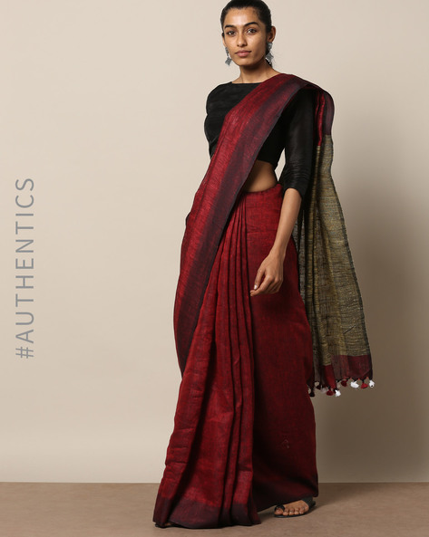 Handloom Pure Linen Saree With Contrast Border By Lal10 ( Red )