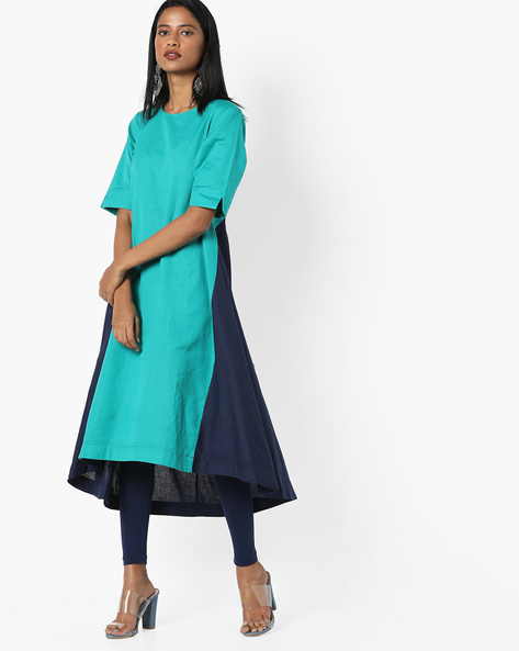Colourblock Panelled Kurta With Asymmetrical Hem By Project Eve IW Casual ( Green )