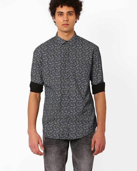 Slim Fit Checked Shirt By Nature Casuals ( Black )