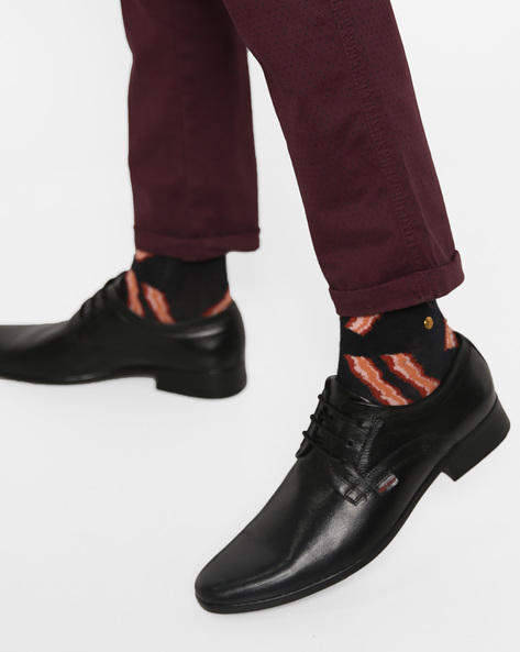 Textured Leather Derby Shoes By RED CHIEF ( Black ) - 460178205004