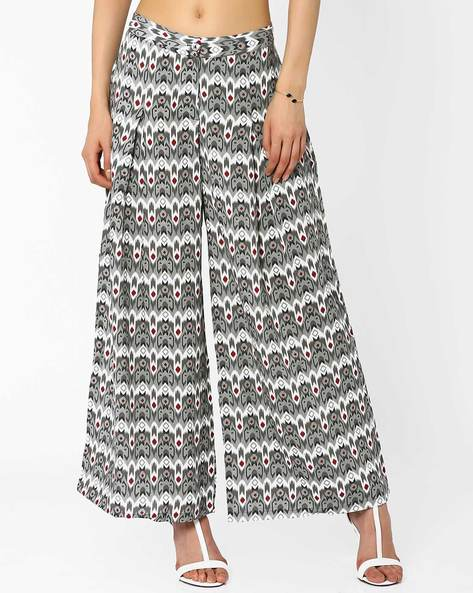 Printed Palazzo Pants By AJIO ( Grey )
