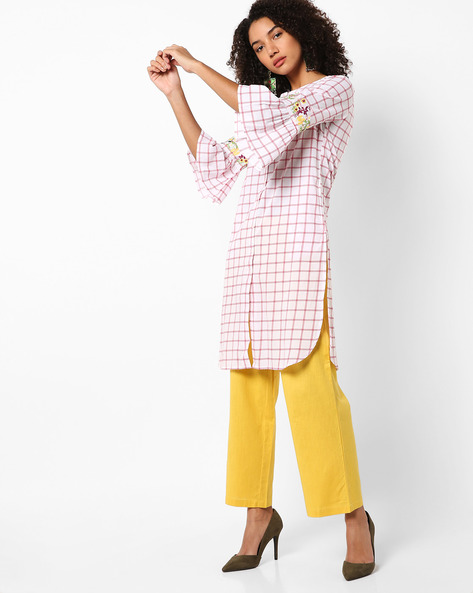 Open-Front Checked Kurta With Flared Sleeves By AJIO ( White )