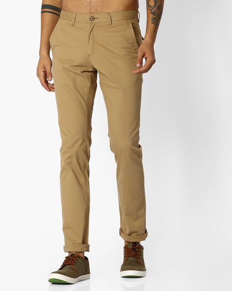 Flat-Front Trousers With Belt Loops By NETPLAY ( Khaki )