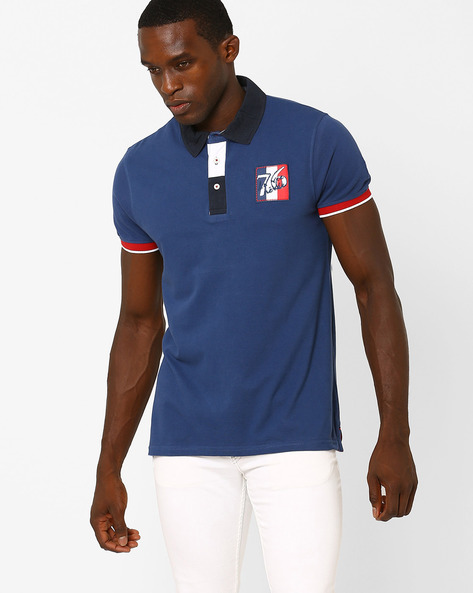 Slim Fit Cotton Polo T-shirt By Celio ( Indigo )