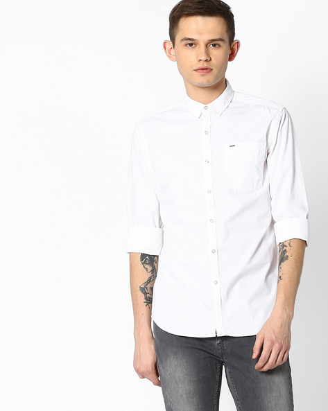 Cotton Slim Fit Shirt By Lee ( White )