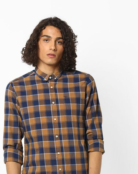 Checked Shirt With Button-Down Collar By FLYING MACHINE ( Blue )