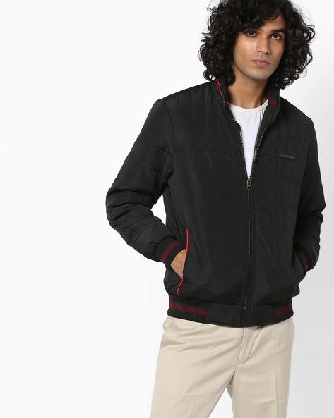 Bomber Jacket With Front Zipper By Fort Collins ( Black )