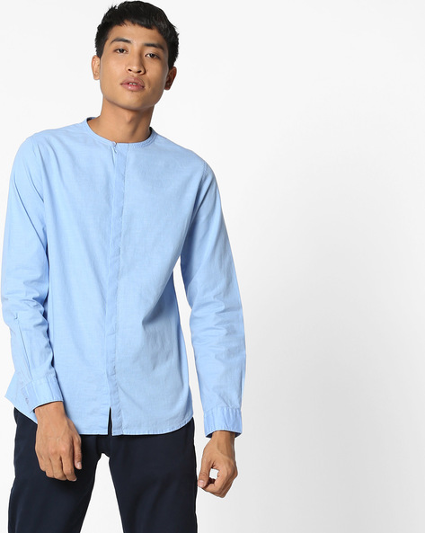 Cotton Shirt With Concealed Button Placket By AJIO ( Skyblue )