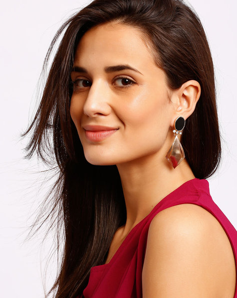 Embellished Gold-Plated Drop-Earrings By Ssoul ( Black )