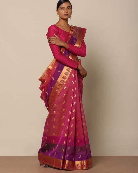 Pure Cotton Mercerised Saree With Brocade Pallu By Indie Picks ( Purple )