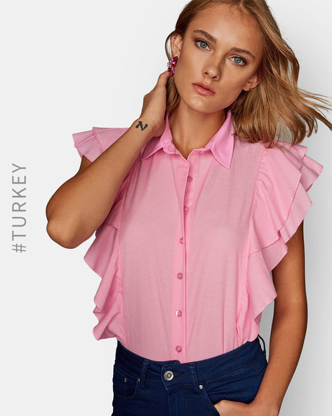 Panelled Shirt With Ruffled Overlay By TRENDYOL ( Pink )