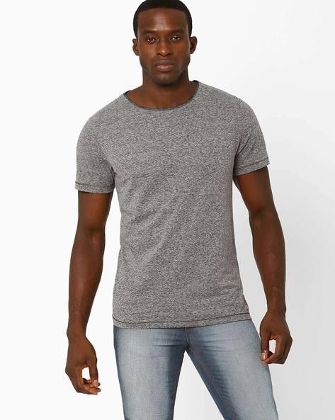 Heathered Crew-Neck Slim T-shirt By Blue Saint ( Darkgrey )