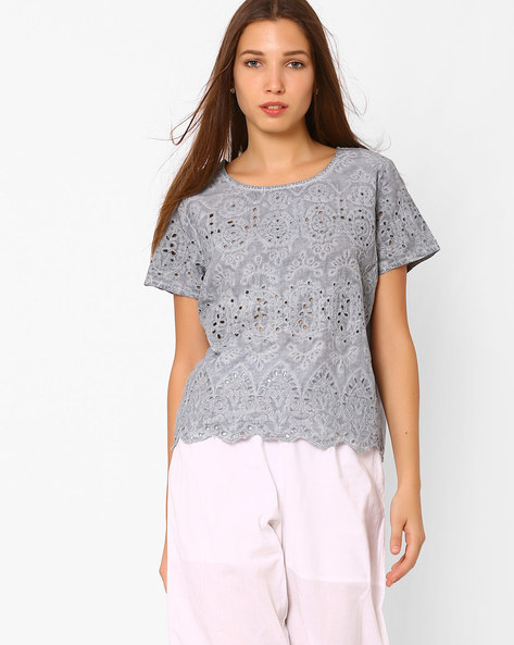 Schiffli Top With Keyhole By Rena Love ( Grey )