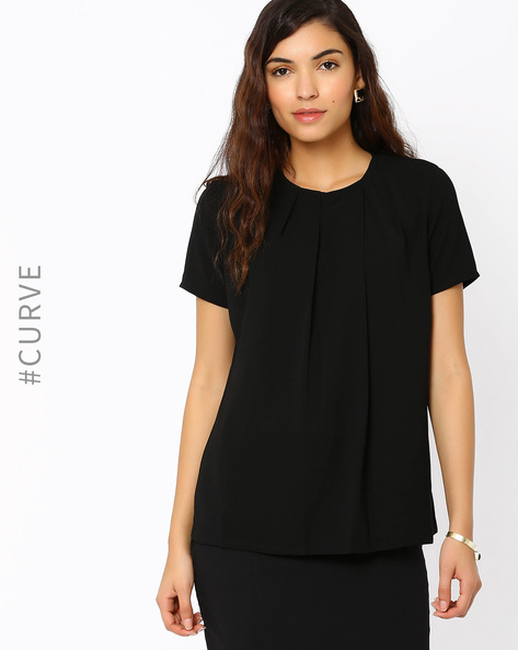 Pleat-Front Top With Short Sleeves By AJIO ( Black )