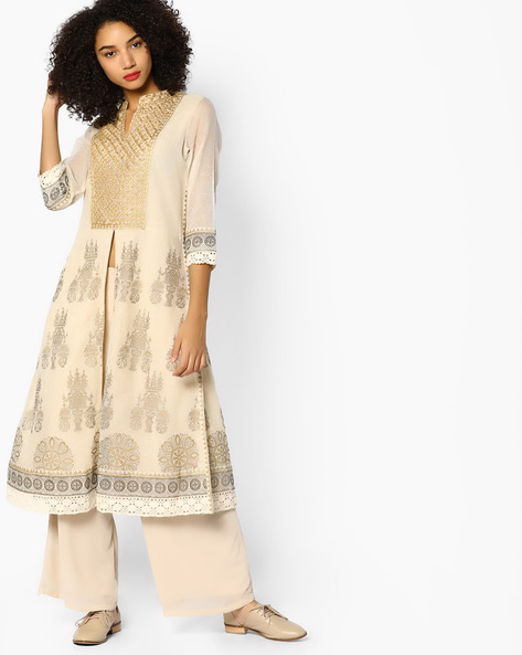 Embroidered Kurta With Front Slit By Melange By Lifestyle ( Beige )