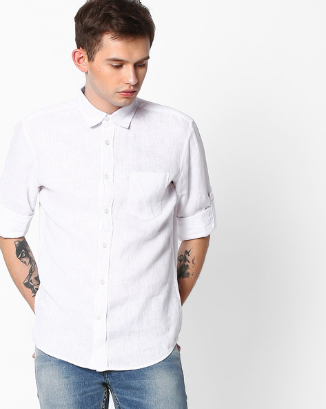 Pure Linen Shirt With Roll-Up Sleeves By Celio ( White )