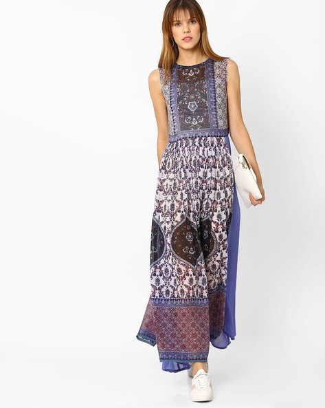 Printed Maxi Dress By Rain & Rainbow ( Blue )