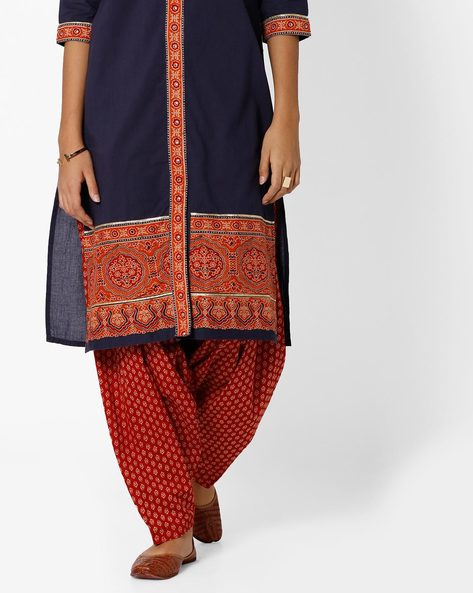 Printed Semi-Patiala Pants With Drawstring By SIYAHI ( Maroonburg )