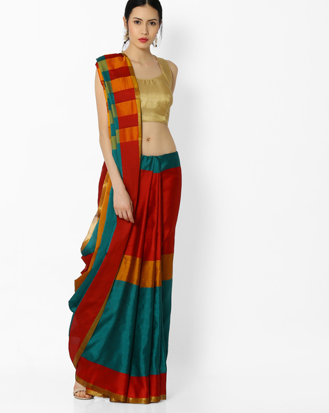 Striped Art Silk Saree By Amori ( Multicolor )