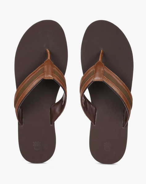 Genuine Leather Flip-Flops By UNITED COLORS OF BENETTON ( Brown )