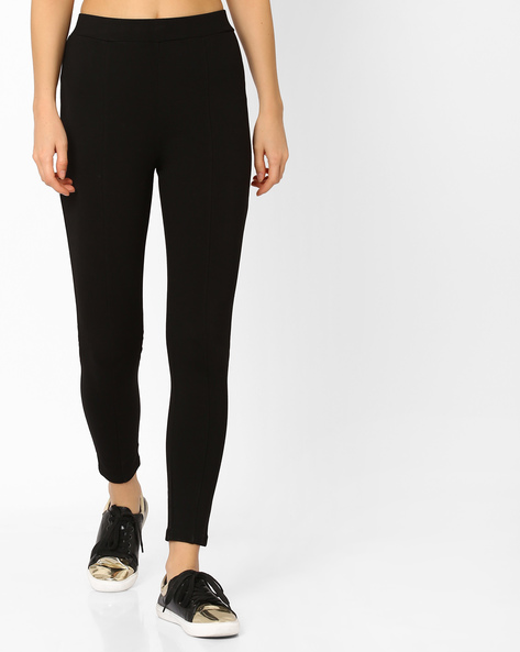 Ankle-Length Leggings With Elasticated Waistband By CODE By Lifestyle ( Black )