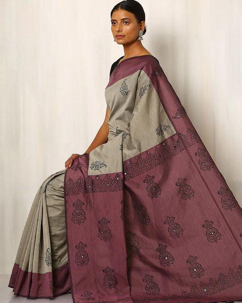Handblock Print Saree With Contrast Pallu By Indie Picks ( Grey ) - 460030583001