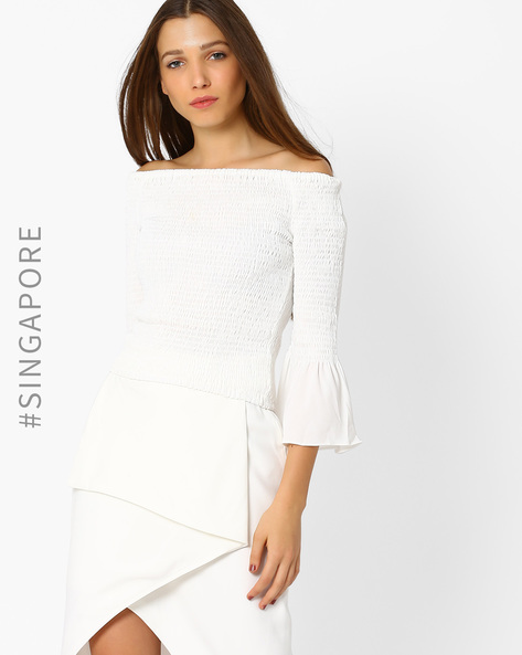 Off-Shoulder Crushed Top With Bell Sleeves By MDS ( White )