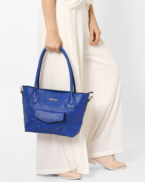 Textured Shoulder Bag By Daphne ( Blue )