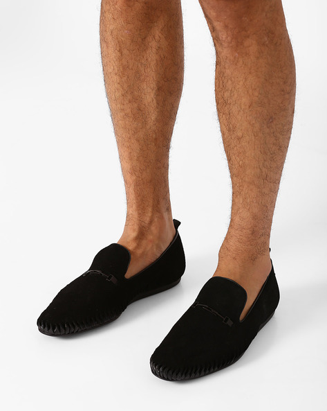 Suede Slip-Ons With Cutouts By FAMOZI ( Black )