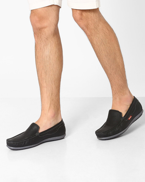 Perforated Genuine Leather Slip-Ons By Lee Cooper ( Black )