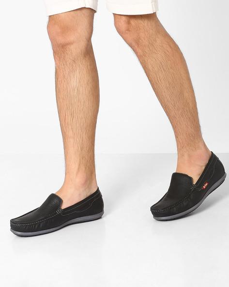 Perforated Genuine Leather Slip-Ons By Lee Cooper ( Black )