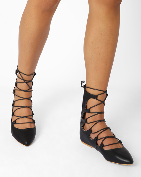 Lace-Up Flat Shoes By AJIO ( Black )