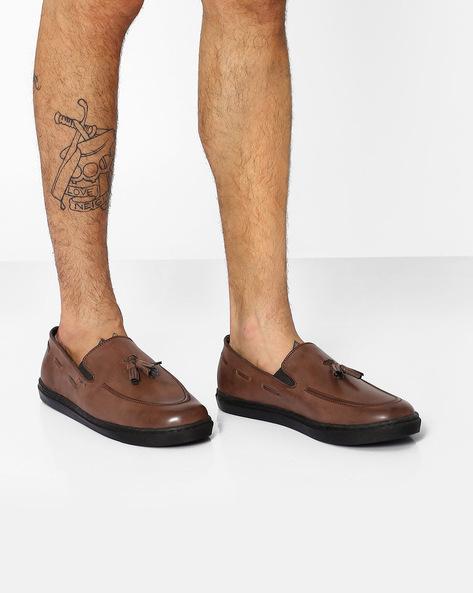 Slip-On Sneakers With Tassels By TURN ( Brown )