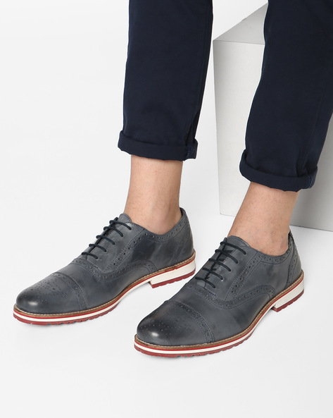 Genuine Leather Semi Brogues By Hats Off Accessories ( Blue )