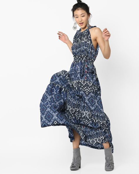 Printed Maxi Dress With Cutaway Shoulders By RI-DRESS ( Multi )