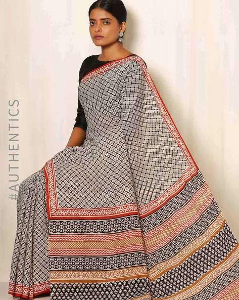 Sanganeri Handblock Print Cotton Mull Saree By Awdhesh Kumar ( Multi ) - 460051557001