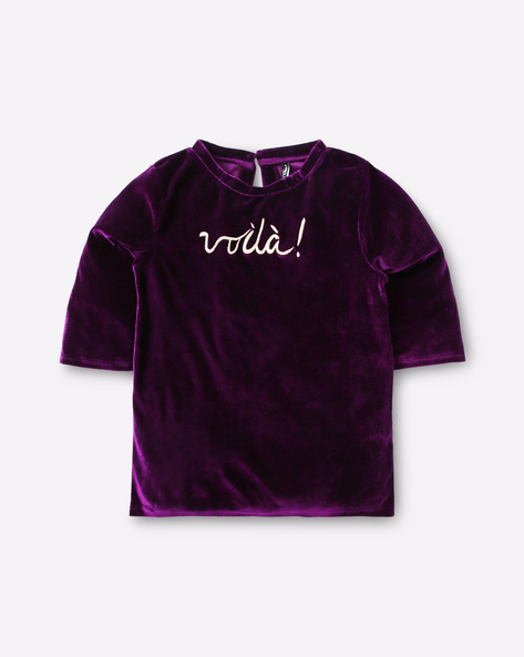 Velvet Top With Embroidery By RIO GIRLS ( Maroonburg )