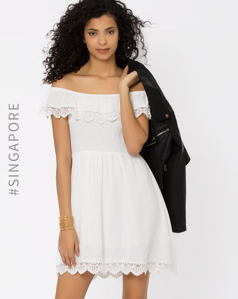Off-Shoulder Fit & Flare Dress By MDS ( White )