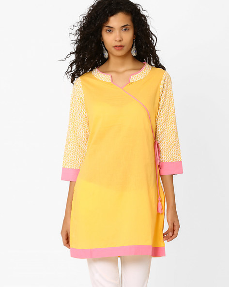 Angrakha Kurta With Printed Sleeves By AJIO ( Yellow )