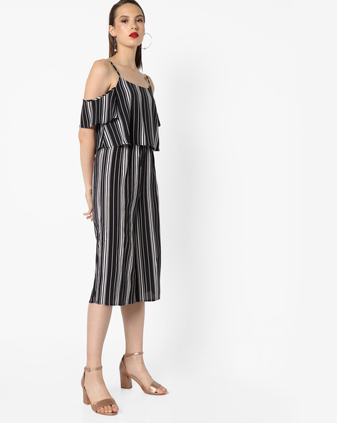 Striped Jumpsuit With Cold-Shoulder Sleeves By INFLUENCE ( Blackwhite )