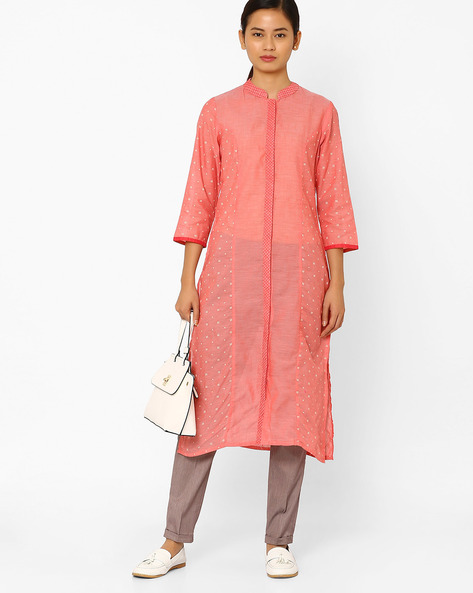 Printed Straight Kurta With Mandarin Collar By AJIO ( Coral )