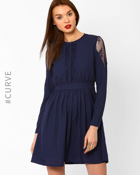 Fit & Flare Dress With Lace Panels By AJIO ( Navyblue )